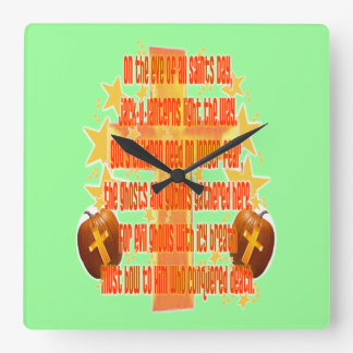 Halloween for Christians Poem Square Wall Clocks