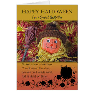 Halloween for Godfather, Cute Scarecrow and Poem Card