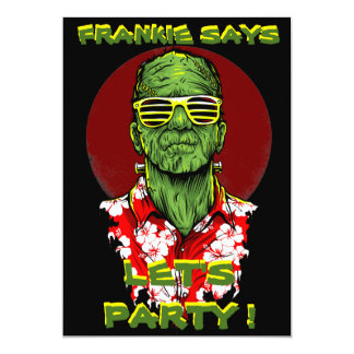 halloween frankenstein beach party invitation