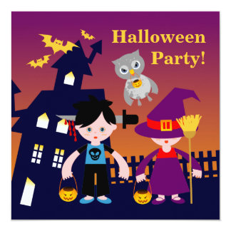 Halloween Freaky Boy and Witch 13 Cm X 13 Cm Square Invitation Card