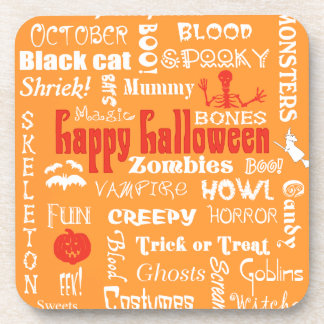 Halloween Fright Night Topography Drink Coasters