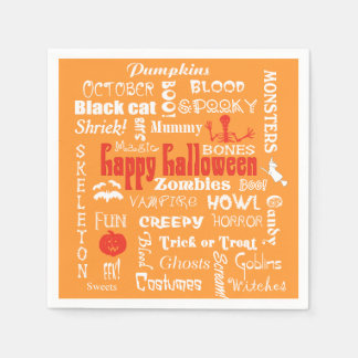 Halloween Fright Night Topography Paper Napkin