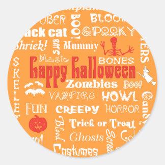 Halloween Fright Night Topography Classic Round Sticker