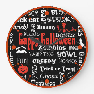 Halloween Fright Night Topography Wall Clock