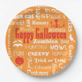 Halloween Fright Night Typography 9 Inch Paper Plate