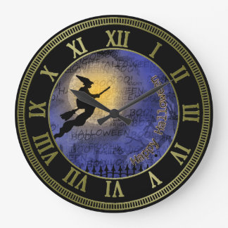 Halloween Full Moon and Witch Large Clock