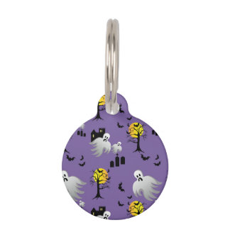 Halloween Full Moon Ghosts on Purple Pet Name Tag