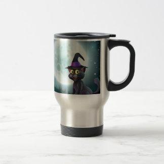 Halloween full moon witch cat mug