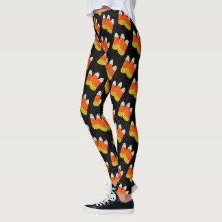 Halloween Fun Candy Corn Novelty Orange Black Leggings