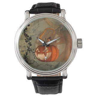 Halloween, funny pumpkin with cute witch watch