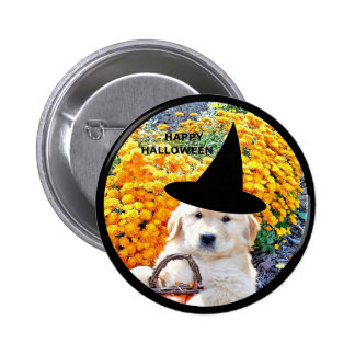 Halloween Funny Puppy Witch T-Shirts Gift Items Pinback Buttons