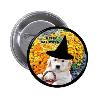 Halloween Funny Puppy Witch T-Shirts Gift Items Buttons