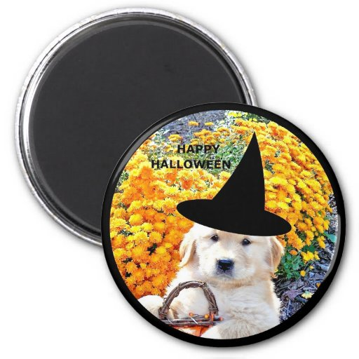 Halloween Funny Puppy Witch T-Shirts & Gift Items Magnet