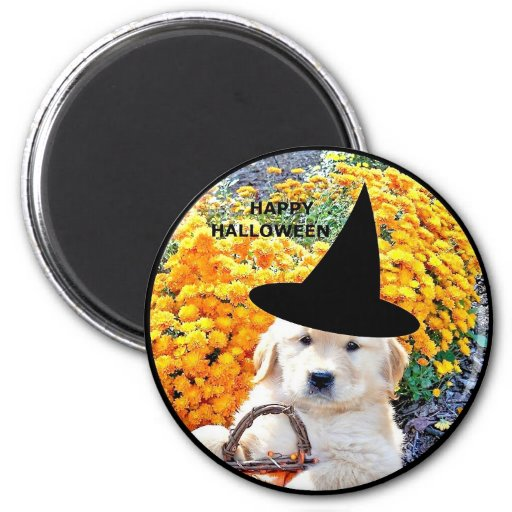 Halloween Funny Puppy Witch T-Shirts & Gift Items Fridge Magnets