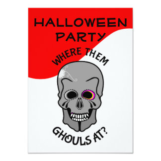 Halloween Funny Skull Ghouls Party Invitation