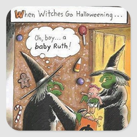 Halloween Funny Witches Trick or Treat Square Sticker