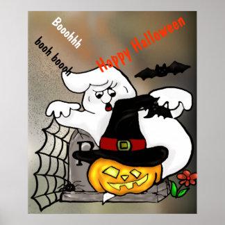 Halloween ghost and pumpkin on a graveyard poster