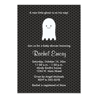 Halloween Ghost Baby Shower Polka Dot Invitations