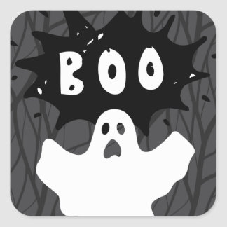 Halloween Ghost BOO! Square Sticker