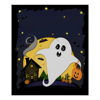 Halloween Ghost && Haunted House Poster