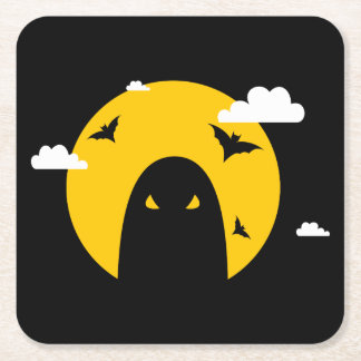 Halloween ghost square paper coaster