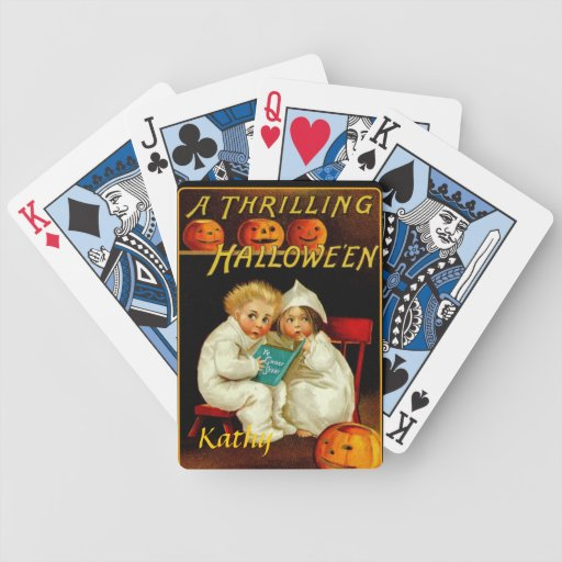 Halloween Ghost Stories Orange Pumpkin Clapsaddle Bicycle Poker Cards