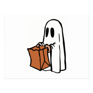 Halloween Ghost Trick-or-Treat Post Card