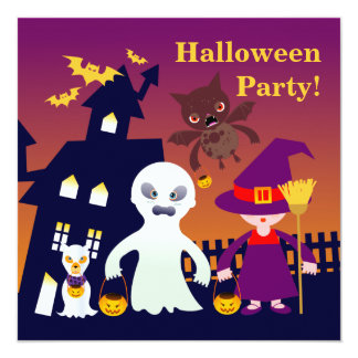 Halloween, Ghost, Witch and Bat 13 Cm X 13 Cm Square Invitation Card