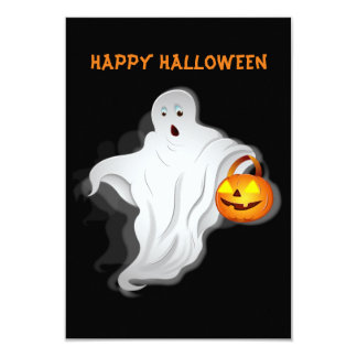 Halloween Ghost with pumpkin Card