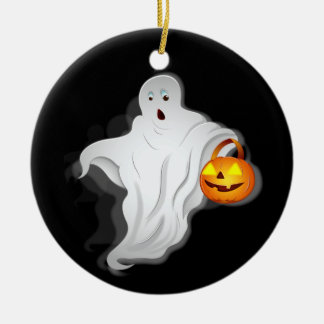 Halloween Ghost with pumpkin Christmas Ornament