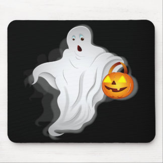 Halloween Ghost with pumpkin Mouse Pad