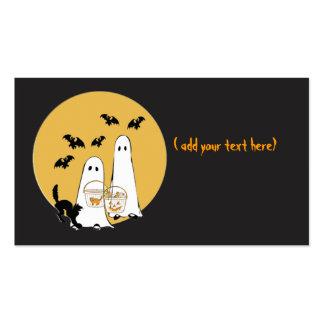 halloween ghosties on black business card template