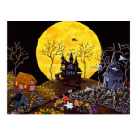 Halloween,ghosts,church,tombstones,witch Post Cards