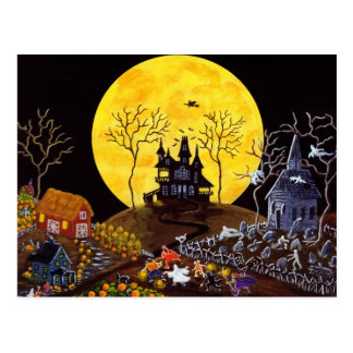 Halloween,ghosts,church,tombstones,witch Postcard