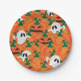 Halloween Ghosts Haunted Pumpkin Patch 7 Inch Paper Plate