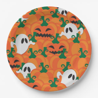 Halloween Ghosts Haunted Pumpkin Patch 9 Inch Paper Plate