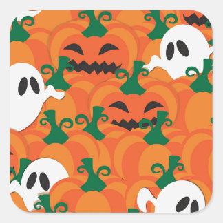 Halloween Ghosts Haunted Pumpkin Patch Square Sticker