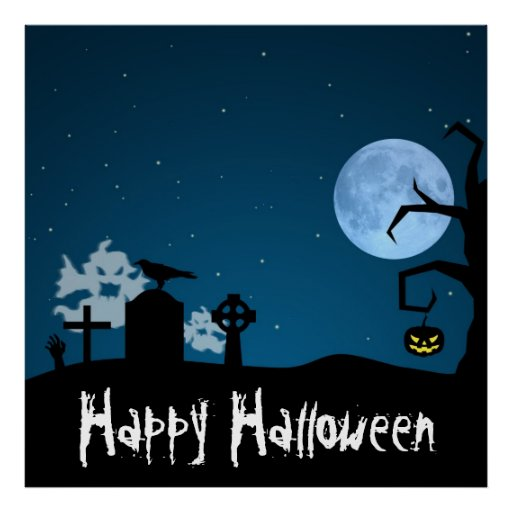 Halloween Ghosts in Graveyard - Poster
