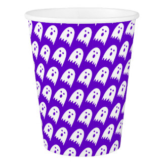 halloween ghosts paper cup purple