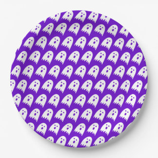 halloween ghosts paper party plate purple