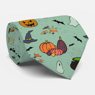 Halloween Ghosts Pumpkins Bats Witch Hats Pattern Tie