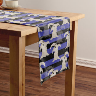 Halloween Ghosts | Purple, Gray and Black Stripes Short Table Runner