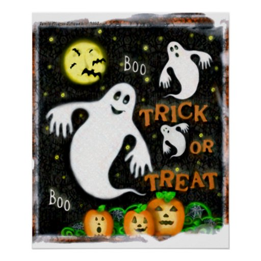 Halloween Ghosts Trick or Treat Art Poster