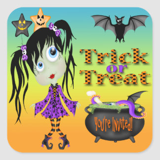 Halloween Ghoul Girl Envelope Seals Stickers
