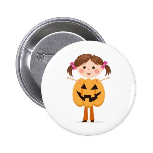 Halloween girl in a pumpkin outfit button