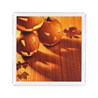 Halloween glowing pumpkins border acrylic tray