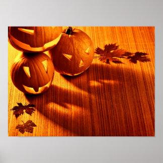 Halloween glowing pumpkins border poster