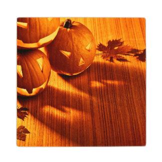 Halloween glowing pumpkins border wood coaster