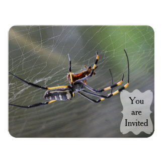 Halloween Golden Spider 11 Cm X 14 Cm Invitation Card