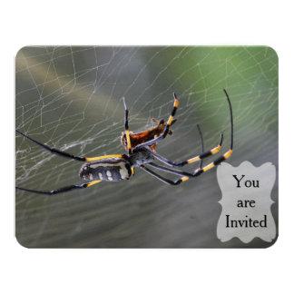 Halloween Golden Spider 11 Cm X 14 Cm Invitation Card